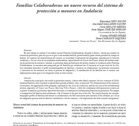 Primera publicación sobre Familias Colaboradoras en una revista científica